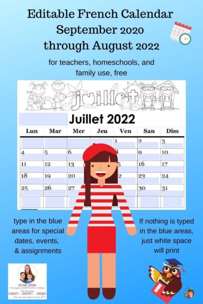 editable free French class calendar free Sept 2020 Aug 2022 teachers homeschools