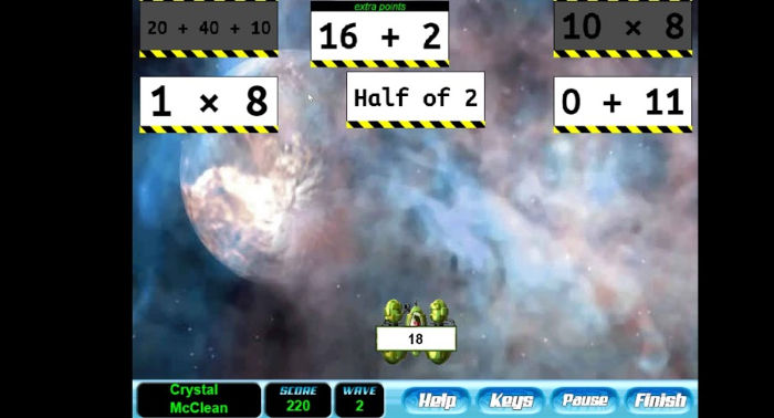Math Invaders screenshot, EdAlive Online Learning Games