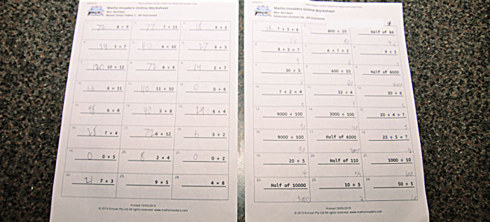Math Invaders worksheets