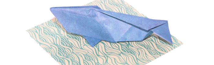 Origami whale at Castle View Academy
