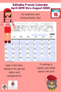 editable-French-class-calendar-free-April-2019-Aug-2020-teachers-homeschool