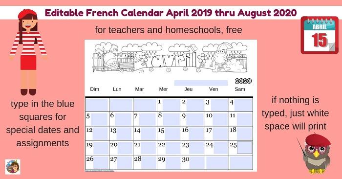 editable-french-class-calendar-free-April-2019-thru-Aug-2020-teachers-homeschools