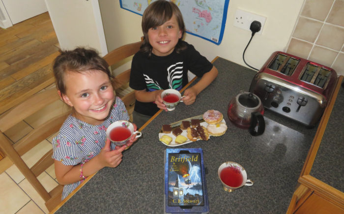 Having a Britfield tea party at Castle View Academy homeschool