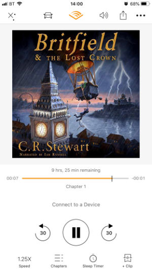 Listening to Britfield & the Lost Crown on Audible