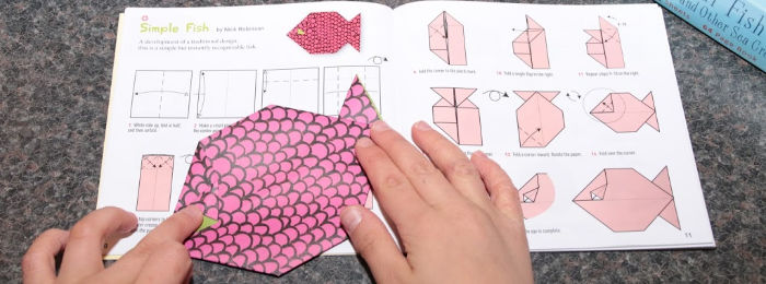 Folding a simple origami fish