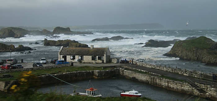 Balintoy Harbour on the north coast of Ireland on a windy day