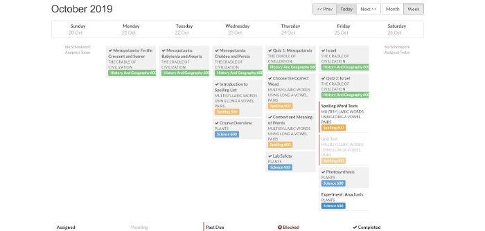 Calvert calendar schedule