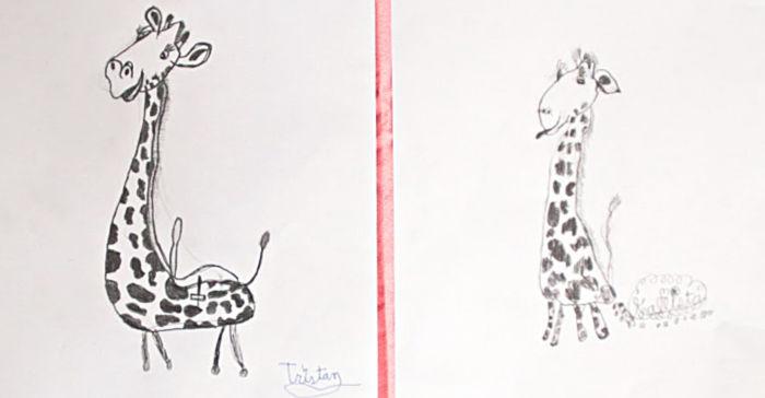 Cartoon giraffe in pencil
