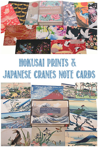 Hokusai prints and Japanese cranes note cards are beautiful