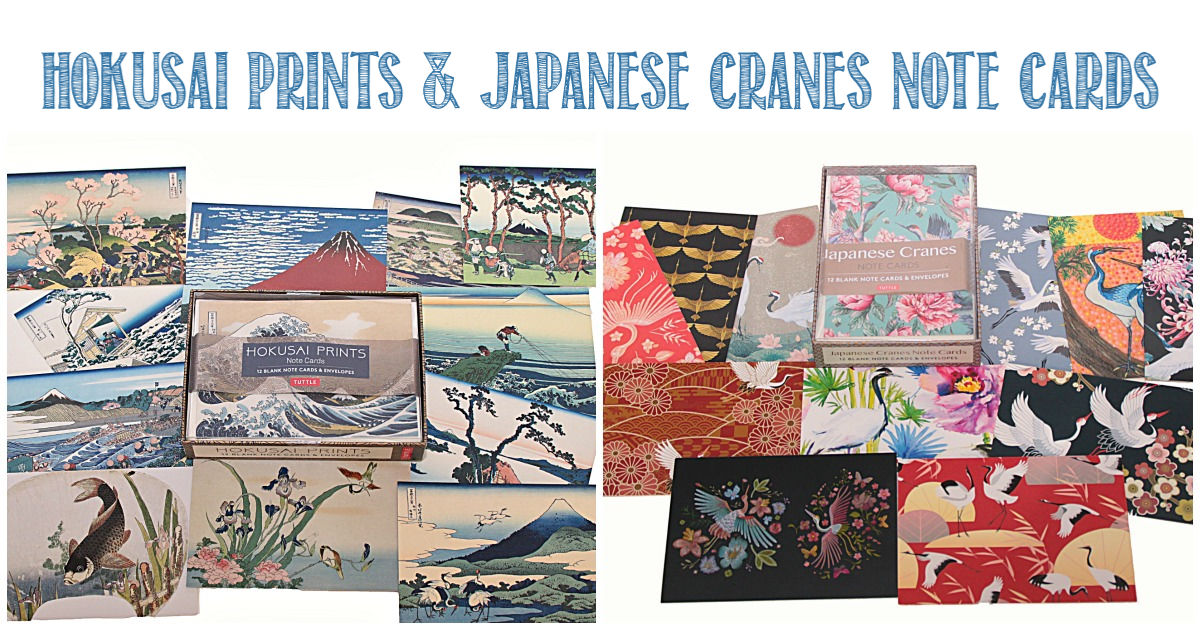 Hokusai prints and Japanese cranes note cards