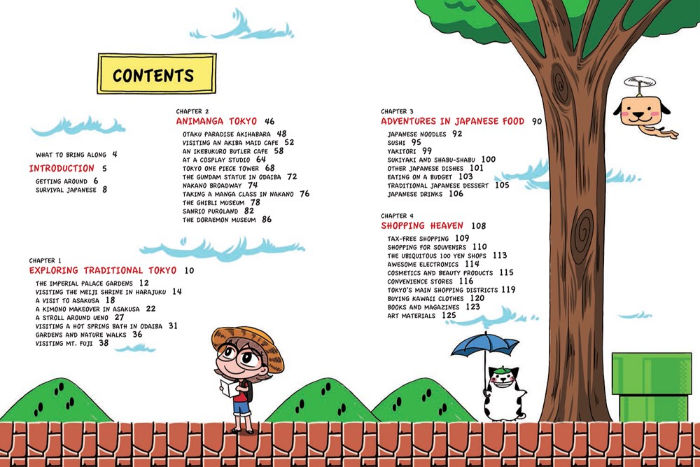 Manga Lover's Tokyo travel guide contents page