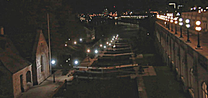 Ottawa's Rideau canal locks by night