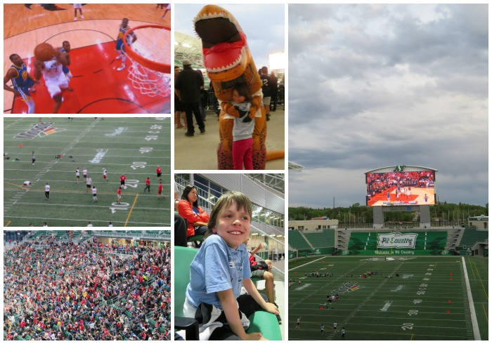 Watching the Toronto Raptors in Regina Mosaic Stadium