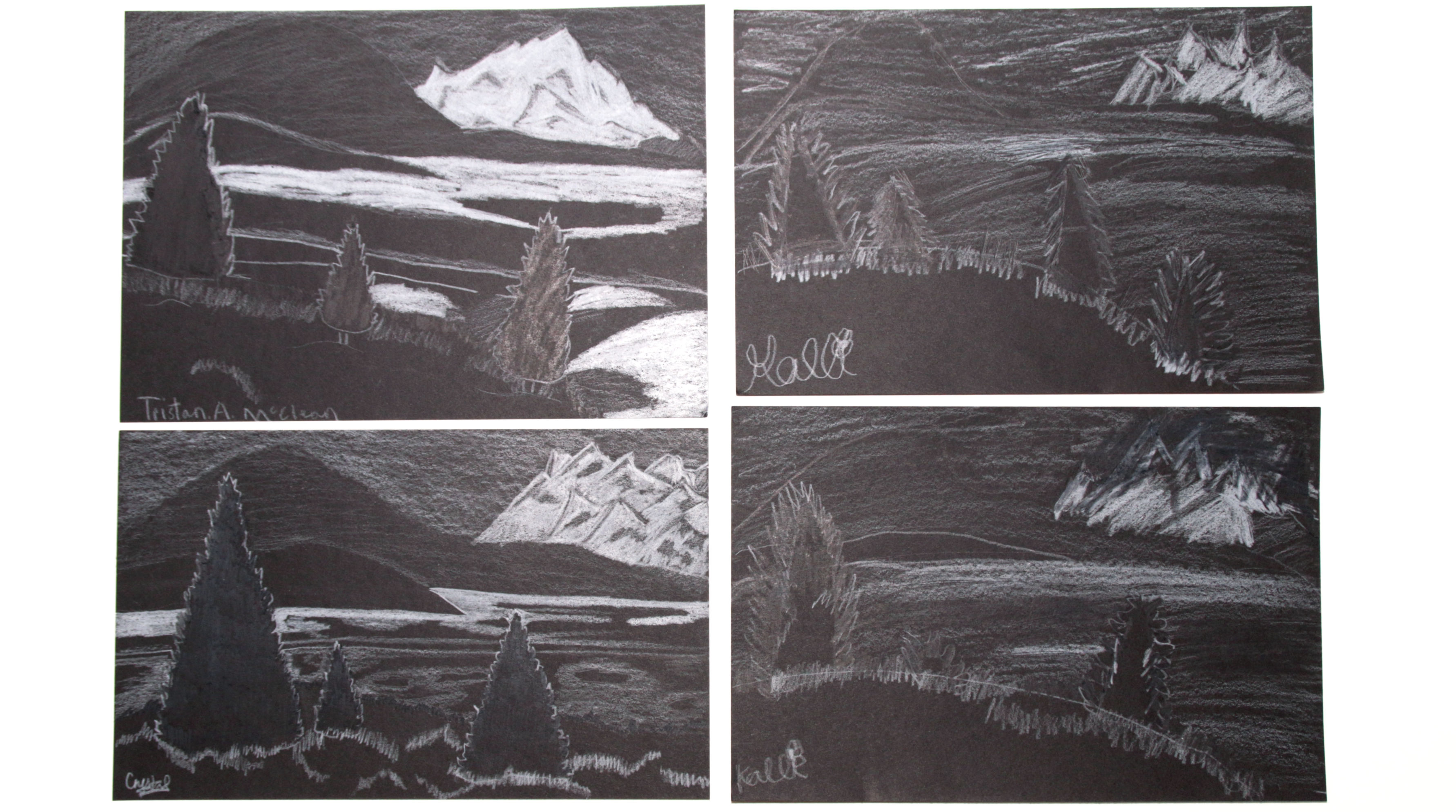 white on black drawings from Castle View Academy homeschool