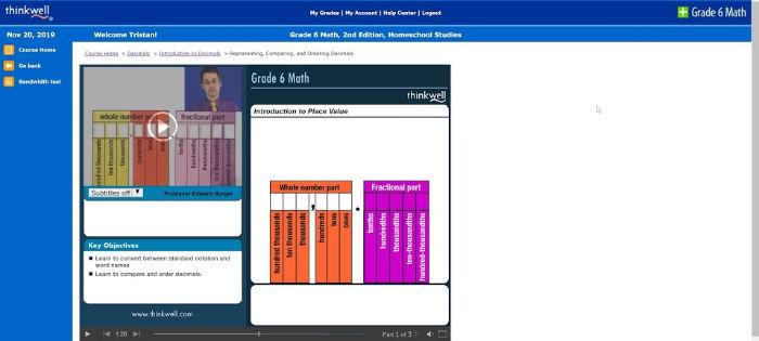 grade 6 math with Thinkwell decimals screenshot