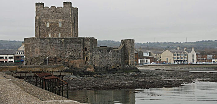 Carrickfergus Castle on a dreary day, Northern Ireland, UK