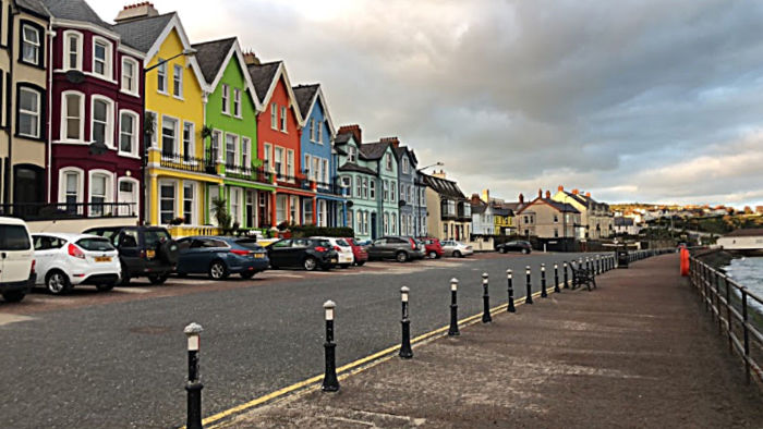The colourful houses of Whitehead Promenade, Northern Ireland, UK