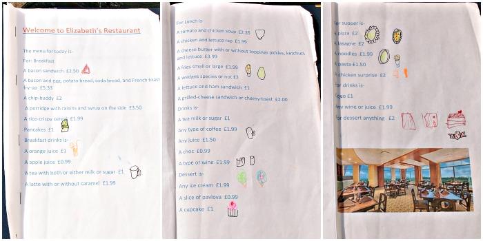 Doodles on a menu