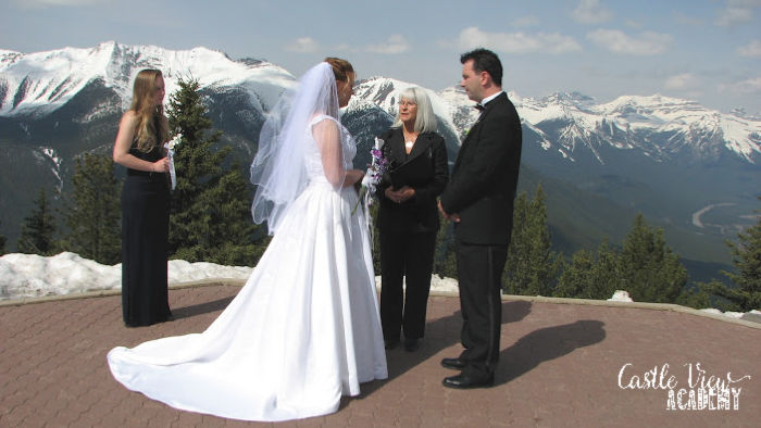 Castle View Academy getting married on Sulphur Mountain, Banff