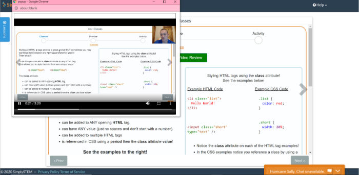 Simply Coding screenshot of the coding classes