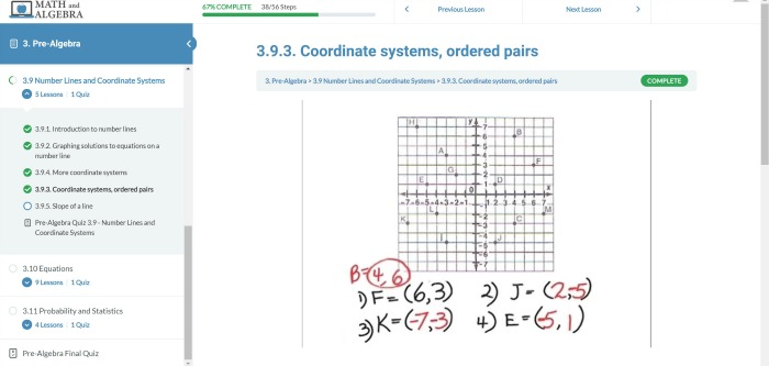 Coordinate systems, ordered pairs