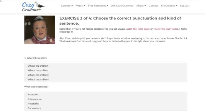 Cozy Grammar exercises online
