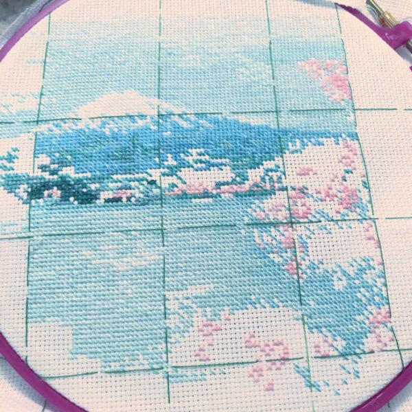 Embroidering Lake Kawaguchi