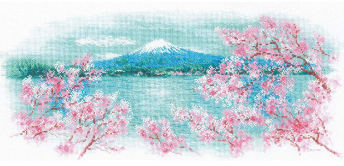 Riolis Sakura - Fuji Cross Stitch Kit from Love Crafts