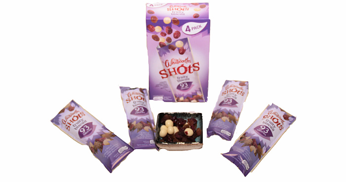 Whitworths Shots Fruity Biscuits in Degusta Box on the go